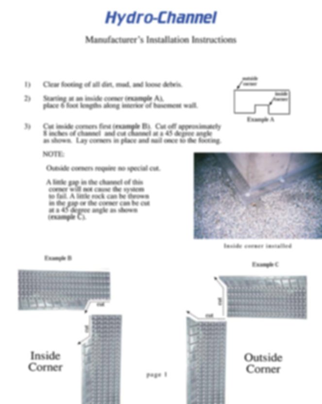 Hydro Channel installation instructions-