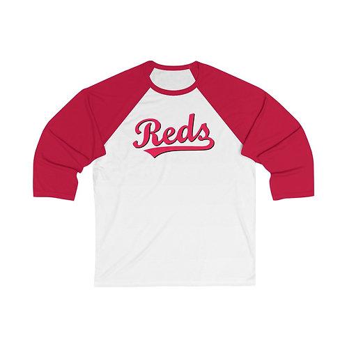 REDS Unisex 3/4 Sleeve Baseball Tee