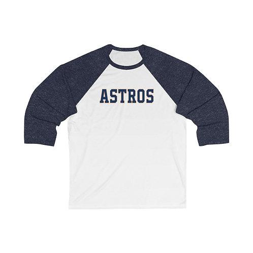 ASTROS Unisex 3/4 Sleeve Baseball Tee