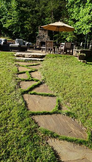 Flagstone walkway garden path