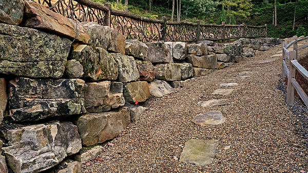 stepping stone walkway with gravel border