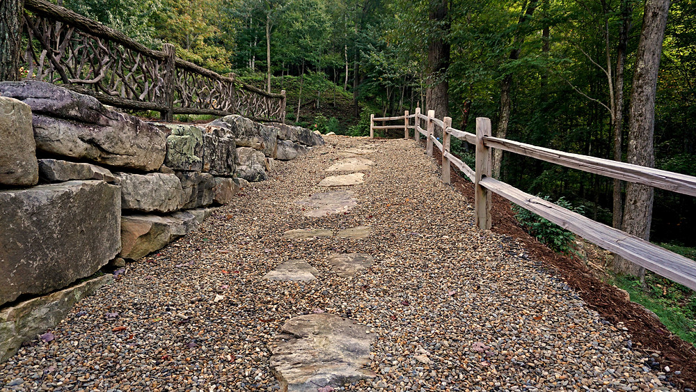 Boulders used for retaining wall