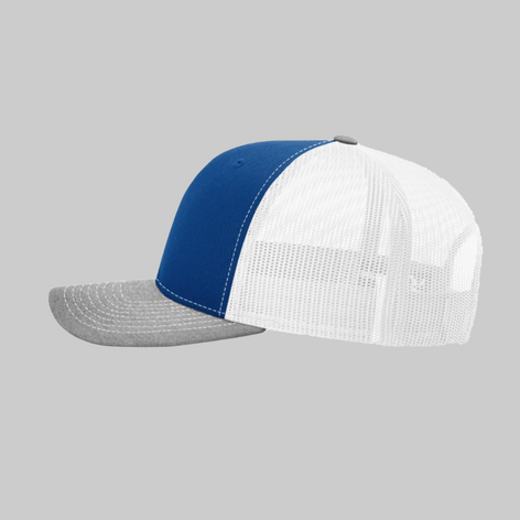 Royal White and Gray Trucker