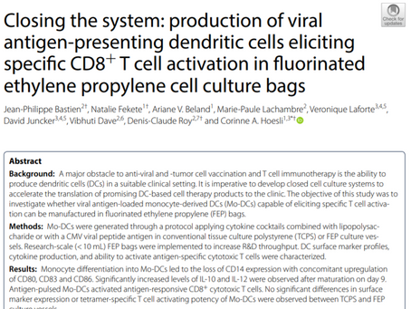 Publication: Closing the system: production of viral antigen-presenting dendritic cells eliciting...