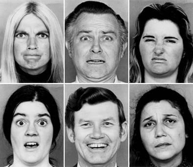 Exemplos das seis expressões básicas, conforme usados na pesquisa de Ekman. Raiva, medo, nojo, tristeza, felicidade, surpresa.  Crédito da imagem: Paul Ekman.