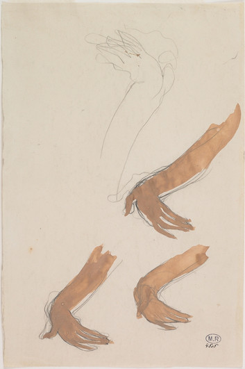 """Four Cambodian hand studies."" July 1906. Auguste Rodin (1840 -1917)"
