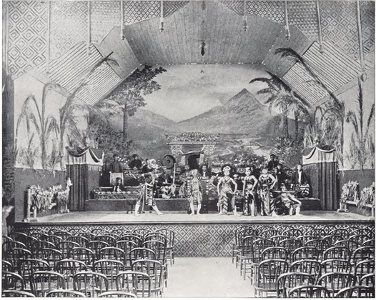 """""""Performance in the Javanese Theatre."""" Buel, J.W. Magic City. St. Louis: Historical Publishing, 1894."""