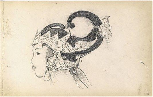 """""""Head of a Javanese Dancer in Profile."""" From Sketchbook of Javanese Dancers, 1889. By John Singer Sargent (1856-1925)."""