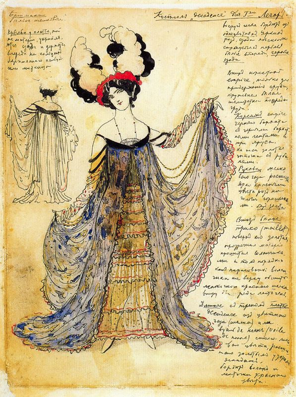 Leon Bakst, Decadent dress for Mrs Legar, 1910