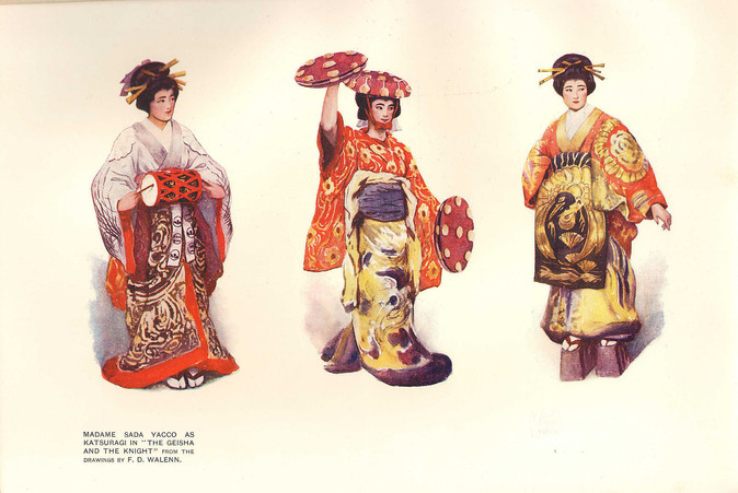 "Sada Yacco as Katsuragi in ""The Geisha and The Knight,"" The Studio, Vol. XVI, No. 62 (April 1902) by F.D. Walenn"