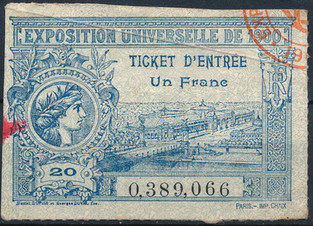 Exposition Universelle 1900 Admission Ticket.