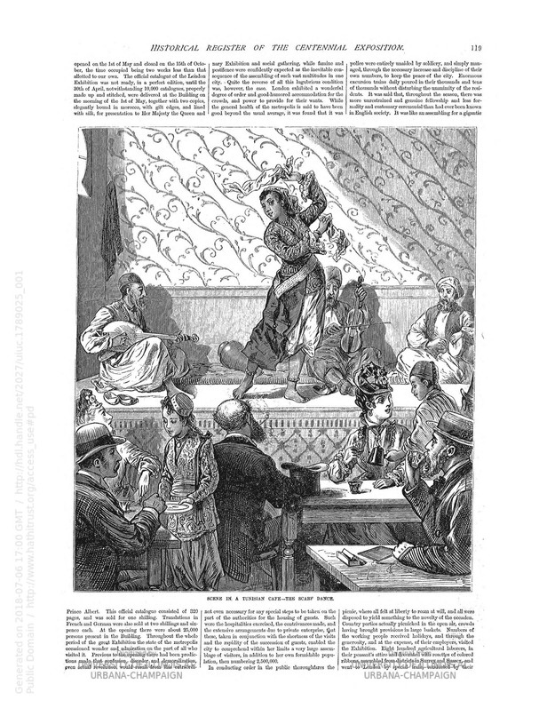 """""""Scene in a Tunisian Café – The Scarf Dance."""" Frank Leslie's historical register of the United States Centennial ... Norton, Frank H. (Frank Henry), 1836-1921."""