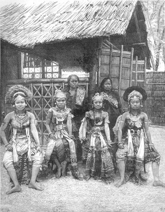 """""""Javanese Dancers in the Kampong of the Esplanade of the Invalides."""" Guestbook of the Exhibition of 1889 Volume 1 p. 229  engraving after photography (Blondel background - BNF) - Private collection"""