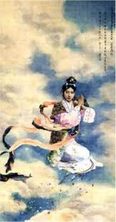 Xu Beihong 徐悲鴻 (1895-1953), Mei Lanfang as Goddess in The Goddess Spreads Flowers. Paitning (Beijing, 1918).