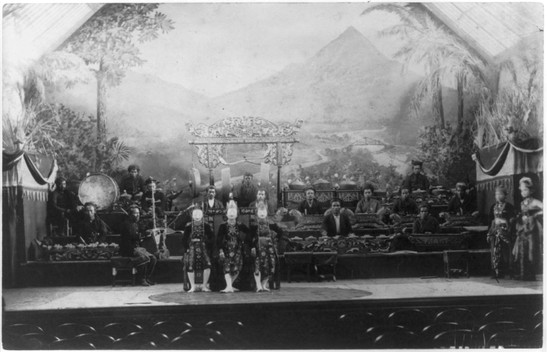 """Javanese Gamelan Orchestra and Topeng masked dancers."" World's Columbian Exposition, Chicago"