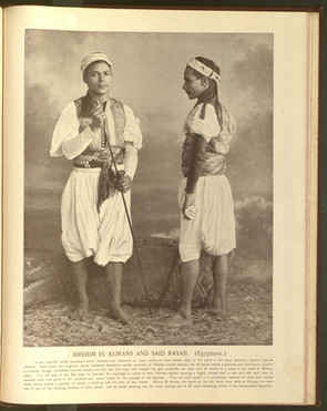 """""""Brehim El Korany and Said Ryam (Egyptians)."""" Oriental and Occidental, Northern and Southern: Portrait Types of the Midway Plaisance. St. Louis: N.D. Thompson, 1894."""