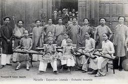 """Orchestre Annamite."" 1906 Marseille Colonial Exhibition"