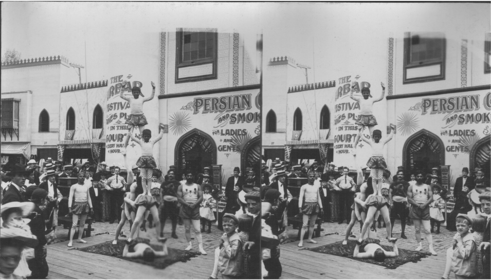 """Indian Acrobats on the Pike, World's Fair."" American Stereoscopic Company."
