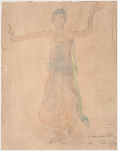 """""""Cambodian dancer called Little glory on a column."""" July 1906. Auguste Rodin (1840 -1917)"""