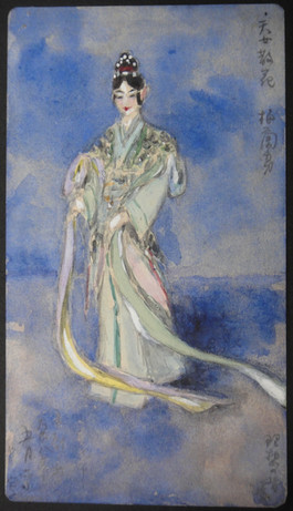 Fukuchi Nobuyo 福地信世 (1877-1934), Mei Lanfang in the role of the Goddess. Watercolor drawing, May 1917. Unpublished painting album 1910s.