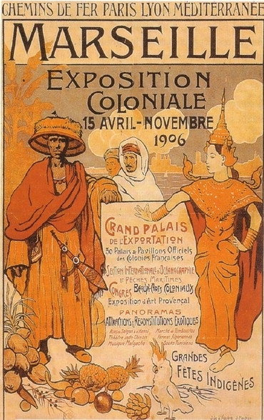 A poster advertising the 1906 Exposition, prominently featuring a Cambodian dancer.