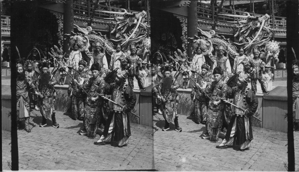 """Stage people in front of the Chinese Theatre, on the pike, St. Louis Worlds Fair, Missouri."" Underwood & Underwood"