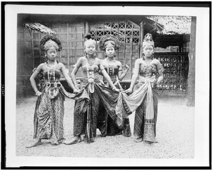Four women dancers in Javanese Village, full-length portrait, standing, in costume, Paris Exposition, 1889
