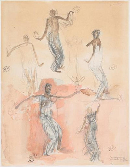 """Six studies of Cambodian dancers."" July 1906. Auguste Rodin (1840 -1917)"