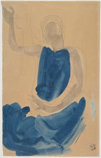 """Cambodian dancer seated with right arm raised."" July 1906. Auguste Rodin (1840 -1917)"