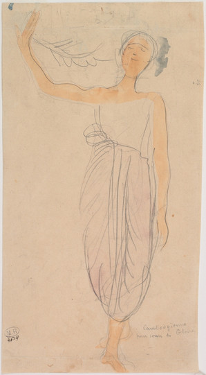 """Cambodian dancer in front holding a palm."" July 1906. Auguste Rodin (1840 -1917)"