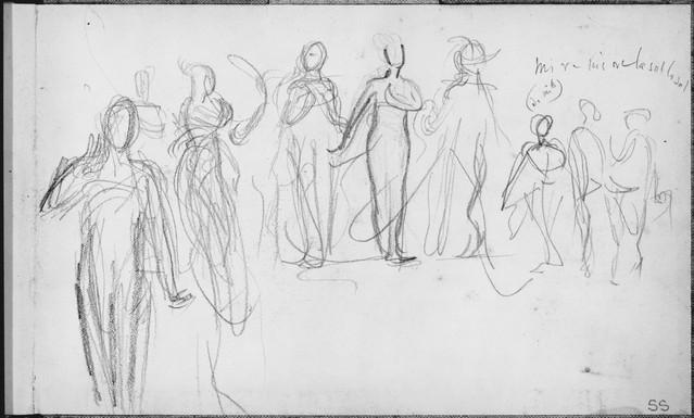 """Javanese Dancers Performing."" Inside Back Cover of Sketchbook of Javanese Dancers, 1889. By John Singer Sargent (1856-1925)."