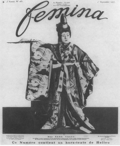 """Sada Yacco was featured on the cover ofFeminafor November 1, 1907."""
