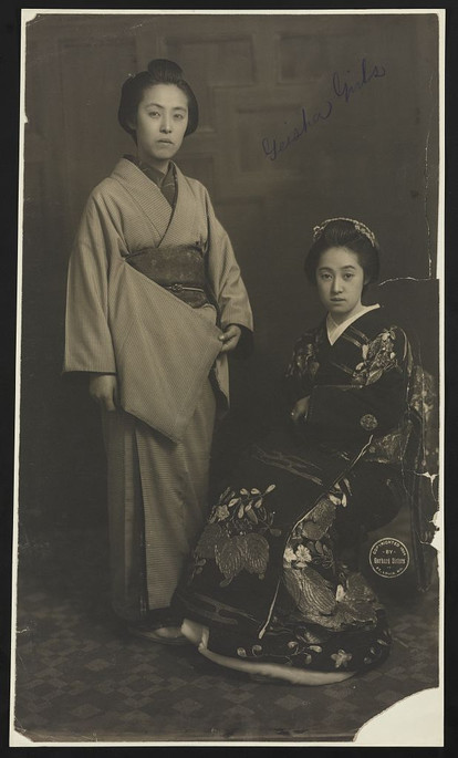 """Geisha Girls. Photograph shows portrait of Japanese women taken at the Louisiana Purchase Exposition, Missouri."" Gerhard Sisters, photographer"