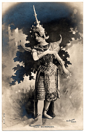 """Cléo de Mérode's """"Cambodian Dance."""" Reutlinger, c. 1900."""