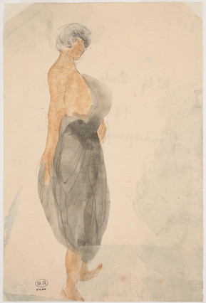 """""""Cambodian dancer in profile to the right."""" July 1906. Auguste Rodin (1840 -1917)"""