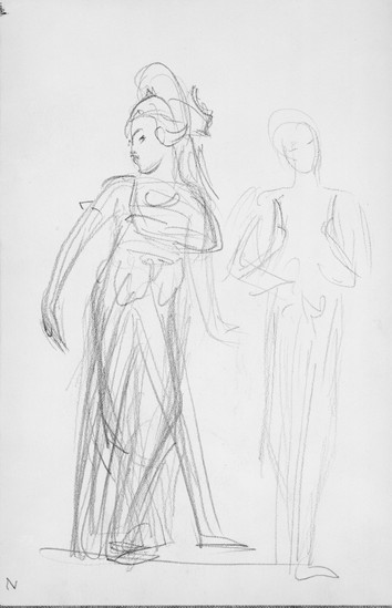 """""""Two Javanese Dancers."""" From Sketchbook of Javanese Dancers, 1889. By John Singer Sargent (1856-1925)."""