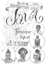 Universal Exhibition 1889 - Java, Explanatory Program Illustrated  by Jean Kernoa. 6 pages, 10 illustrations by Gillot, 2 partitions.