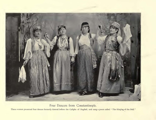 """""""Four Dancers from Constantinople."""" Chicago Times Portfolio of the Midway Types. The American Eng Co. 1895."""