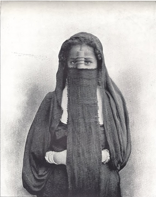 """Egyptian Girl in Street of Cairo."" Buel, J.W. Magic City. St. Louis: Historical Publishing, 1894."