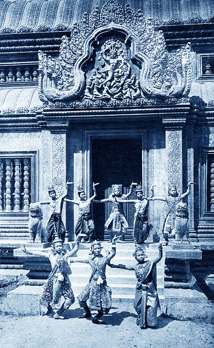 """The Palais - a giant model and as a picturesque background for the staged Cambodian dance troupe."" 1922 Marseille Colonial Exhibition"