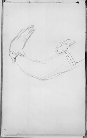 """Arm of a Javanese Dancer."" From Sketchbook of Javanese Dancers, 1889. By John Singer Sargent (1856-1925)."