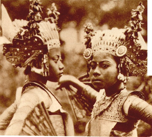 """""""Bali musicians and dancers on the steps of the former East Indies pavilion"""""""