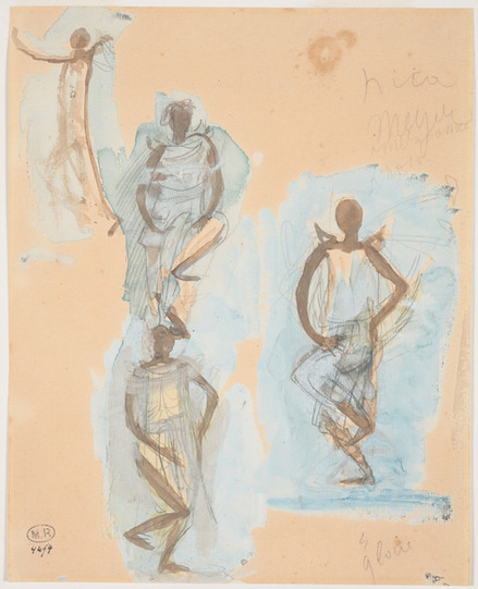 """Four studies of Cambodian dancers."" July 1906. Auguste Rodin (1840 -1917)"