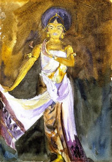 """""""A Javanese Dancer (study), 1889."""" By John Singer Sargent (1856-1925)."""