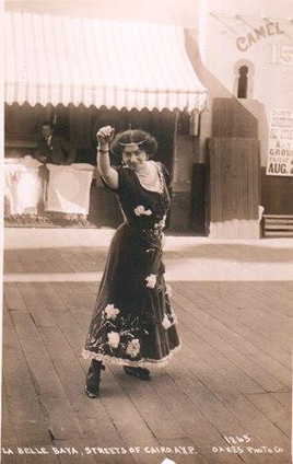 """""""La Belle Baya, a dancer in the Streets of Cairo concession, was married on the Pay Streak."""" Alaska-Yukon-Pacific Exposition Seattle, Washington USA 1909. Photo postcards published by M. L. Oakes."""