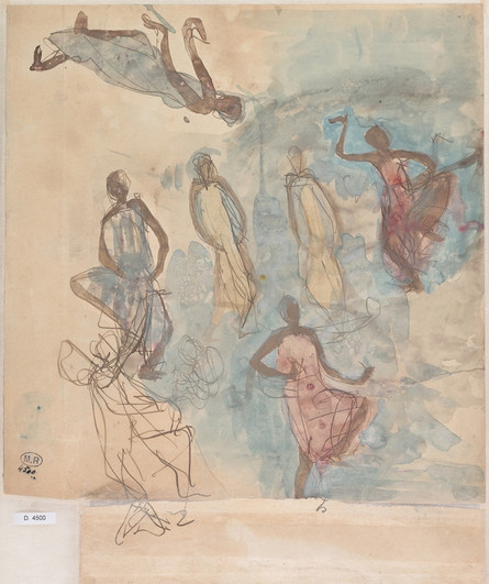 """Seven studies of Cambodian dancers."" July 1906. Auguste Rodin (1840 -1917)"