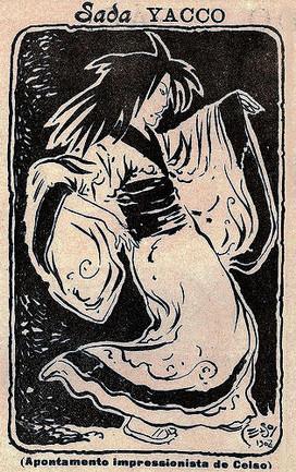 Sada Yacco (1902), illustration for Comércio do Porto Ilustrado by Celso Hermínio