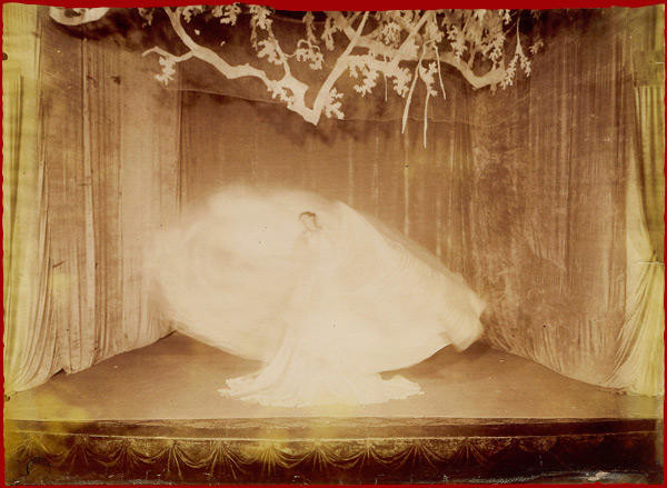 "Loïe Fuller and Sada Yacco performing at Theater of the Athenee, Paris 1901. Scenes from ""La Geisha and the Knight."""