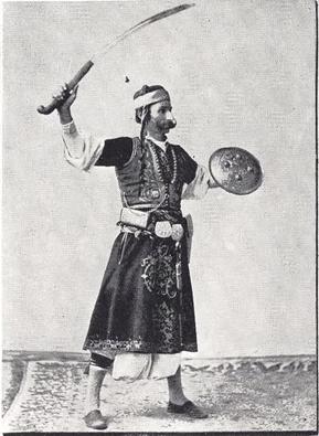 """Syrian Swordsman."" Buel, J.W. Magic City. St. Louis: Historical Publishing, 1894."