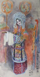 Watercolor drawings by Fukuchi Nobuyo 福地信世 (1877-1934) of Mei Lanfang in the 1910s, Beijing.